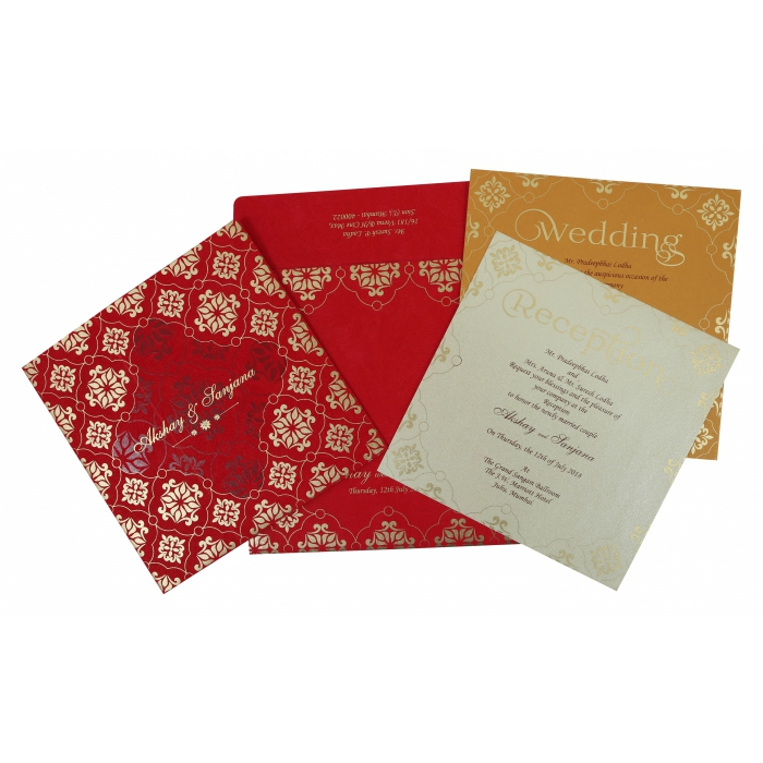 Red Matte Screen Printed Wedding Invitation : AD-1786 - A2zWeddingCards