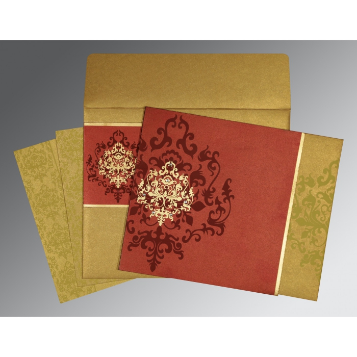WINE RED GOLD SHIMMERY DAMASK THEMED - SCREEN PRINTED WEDDING CARD : AD-8253B - A2zWeddingCards