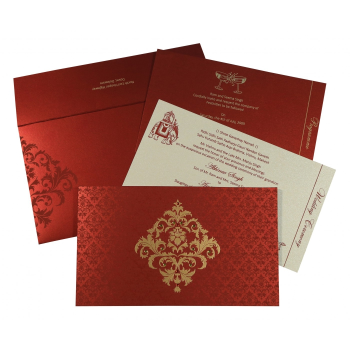 Red Shimmery Damask Themed - Screen Printed Wedding Card : AG-8257H - A2zWeddingCards
