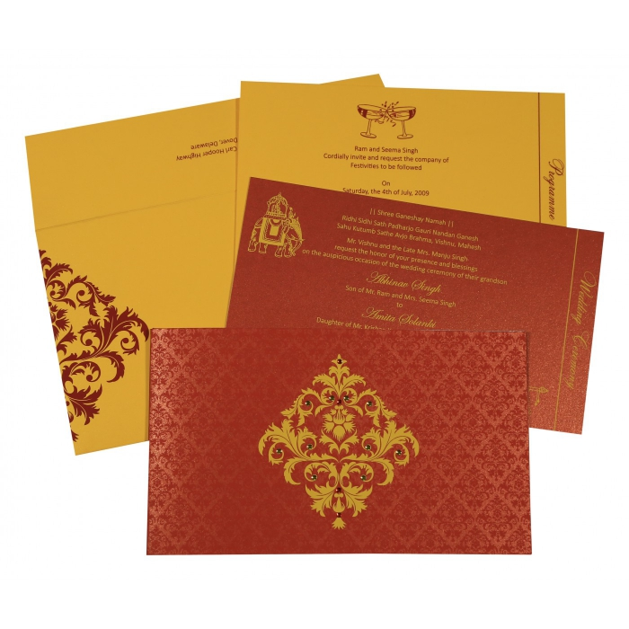 Red Shimmery Damask Themed - Screen Printed Wedding Invitations : AS-8257D - A2zWeddingCards