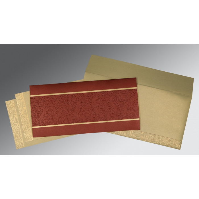 Red Shimmery Embossed Wedding Invitation : AD-1471 - A2zWeddingCards