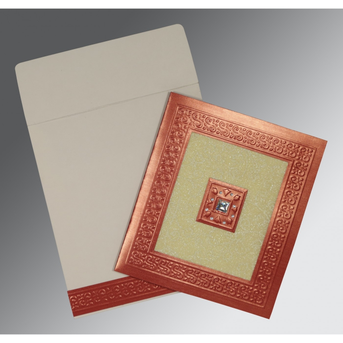 CREAM RED SHIMMERY EMBOSSED WEDDING INVITATION : ASO-1411 - A2zWeddingCards