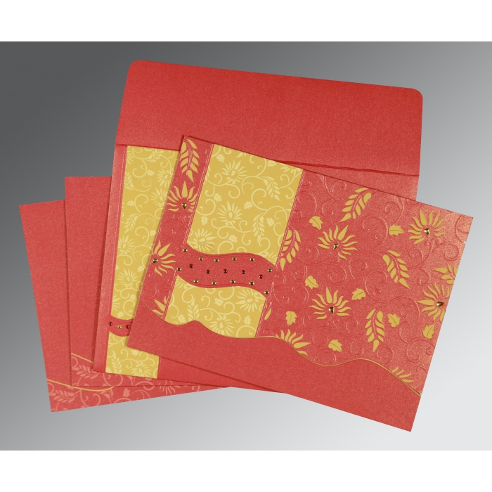 Red Shimmery Floral Themed - Embossed Wedding Invitations : AG-8236C - A2zWeddingCards