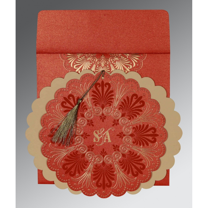 Red Shimmery Floral Themed - Embossed Wedding Card : ARU-8238I - A2zWeddingCards