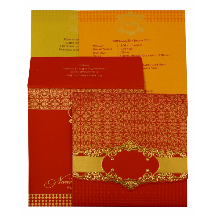 Red Shimmery Floral Themed - Foil Stamped Wedding Invitation : AIN-1890 - A2zWeddingCards