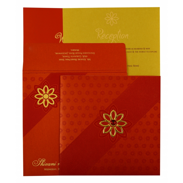 RED SHIMMERY FLORAL THEMED - FOIL STAMPED WEDDING INVITATION : ASO-1882 - A2zWeddingCards