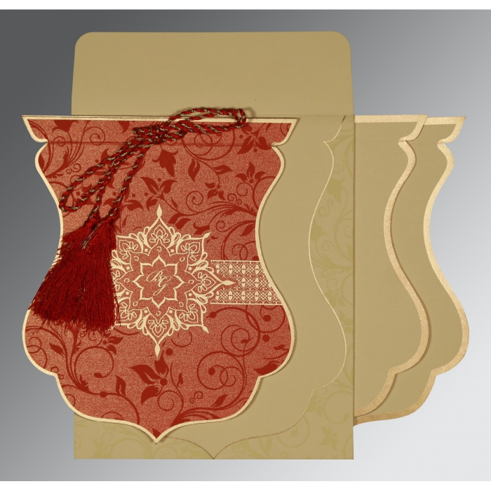 Red Shimmery Floral Themed - Screen Printed Wedding Card : AC-8229H - A2zWeddingCards