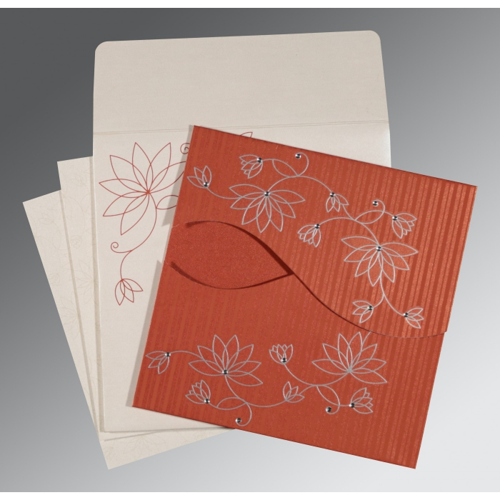 Red Shimmery Floral Themed - Screen Printed Wedding Invitations : AC-8251D - A2zWeddingCards