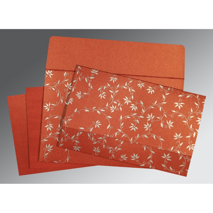 BRICK RED SHIMMERY FLORAL THEMED - SCREEN PRINTED WEDDING INVITATION : AG-8226I - A2zWeddingCards