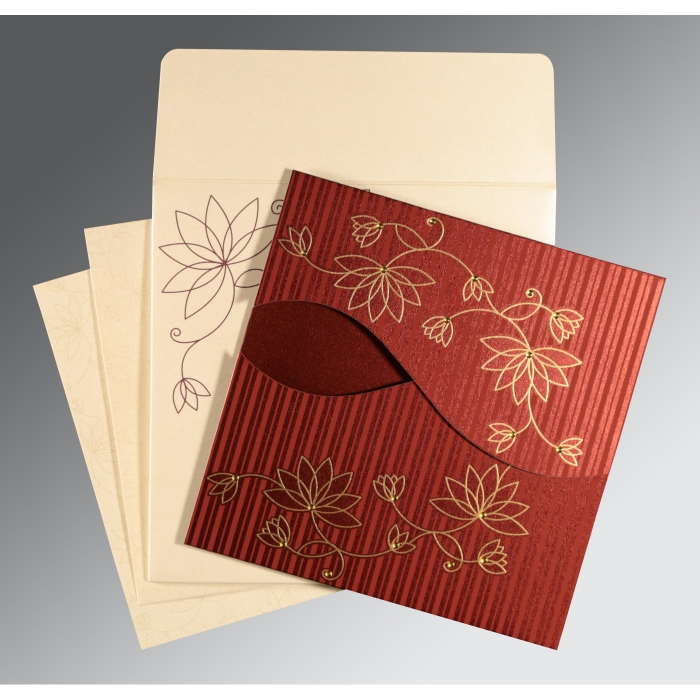 Red Shimmery Floral Themed - Screen Printed Wedding Invitation : AG-8251L - A2zWeddingCards