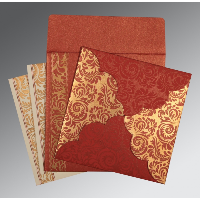 MAXICON RED SHIMMERY FLORAL THEMED - SCREEN PRINTED WEDDING CARD : ARU-8235C - A2zWeddingCards