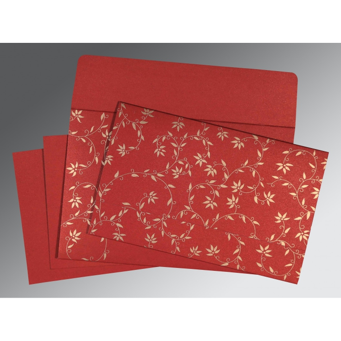Red Shimmery Floral Themed - Screen Printed Wedding Invitation : ASO-8226G - A2zWeddingCards