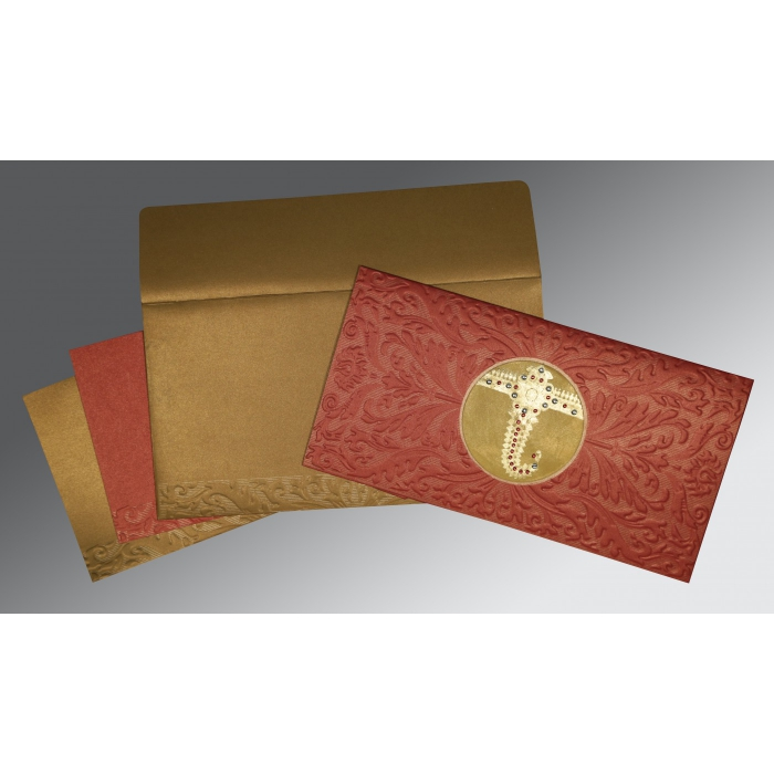 Red Shimmery Foil Stamped Wedding Card : AS-1463 - A2zWeddingCards
