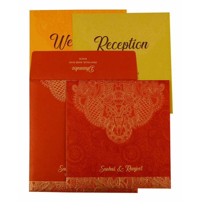 Red Shimmery Paisley Themed - Embossed Wedding Invitation : AD-1874 - A2zWeddingCards