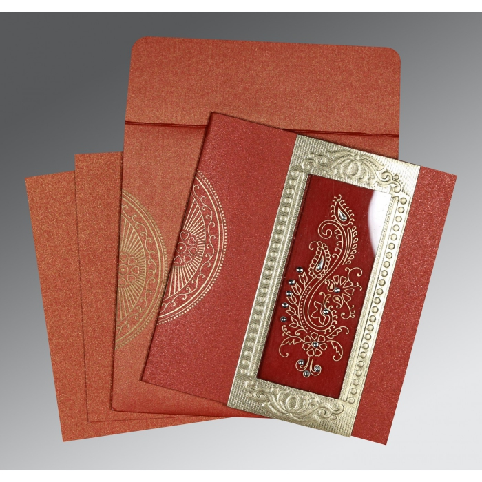 Red Shimmery Paisley Themed - Foil Stamped Wedding Invitation : AC-8230N - A2zWeddingCards