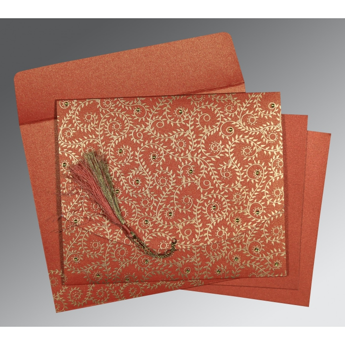 Red Shimmery Screen Printed Wedding Invitation : AC-8217A - A2zWeddingCards