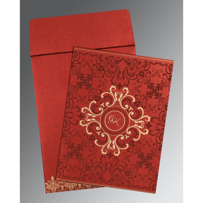 WINE RED SHIMMERY SCREEN PRINTED WEDDING CARD : AIN-8244E - A2zWeddingCards