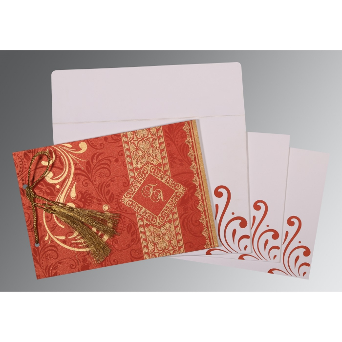 Red Shimmery Screen Printed Wedding Invitations : AS-8223F - A2zWeddingCards