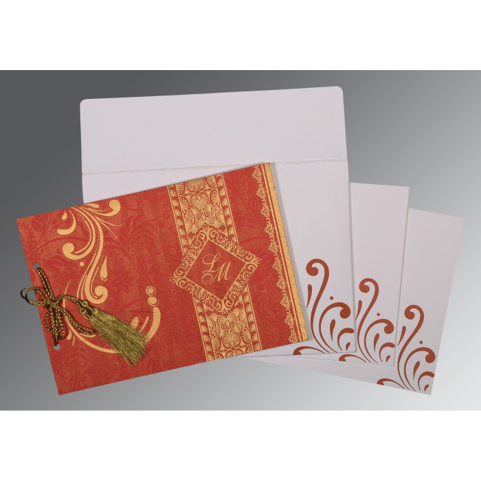 BURNT ORANGE SHIMMERY SCREEN PRINTED WEDDING CARD : AW-8223C - A2zWeddingCards