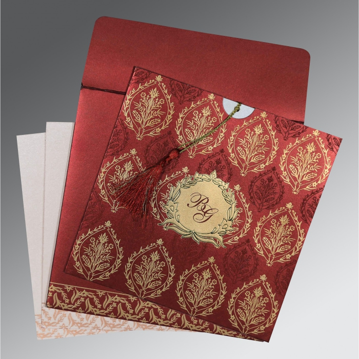 WINE RED SHIMMERY UNIQUE THEMED - FOIL STAMPED WEDDING CARD : AI-8249L - A2zWeddingCards