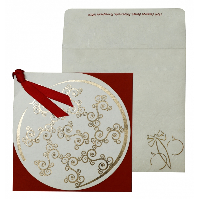 WHITE RED HANDMADE COTTON FLORAL THEMED - FOIL STAMPED HOLIDAY CARDS : AH-853 - A2zWeddingCards