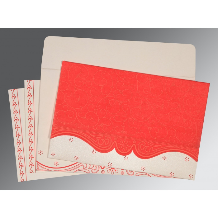 SCARLET MATTE EMBOSSED WEDDING INVITATION : AC-8221J - A2zWeddingCards