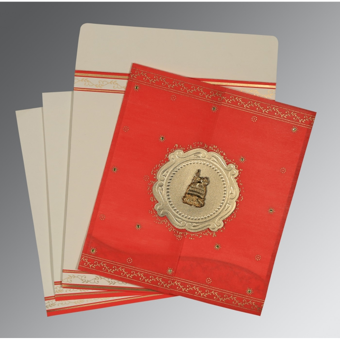 Red Wooly Embossed Wedding Invitation : AI-8202H - A2zWeddingCards