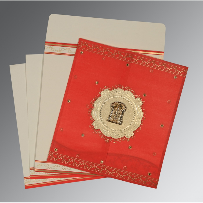 Red Wooly Embossed Wedding Invitation : ASO-8202H - A2zWeddingCards