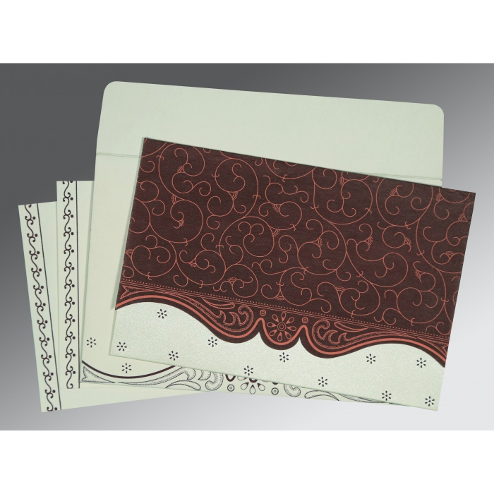 Red Wooly Embossed Wedding Invitations : ASO-8221P - A2zWeddingCards