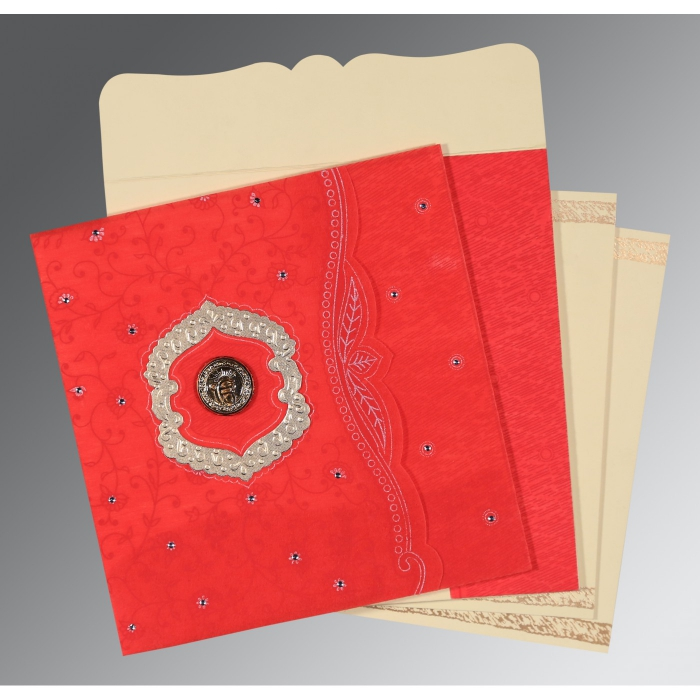 SCARLET SHIMMERY FLORAL THEMED - EMBOSSED WEDDING CARD : ARU-8209I - A2zWeddingCards