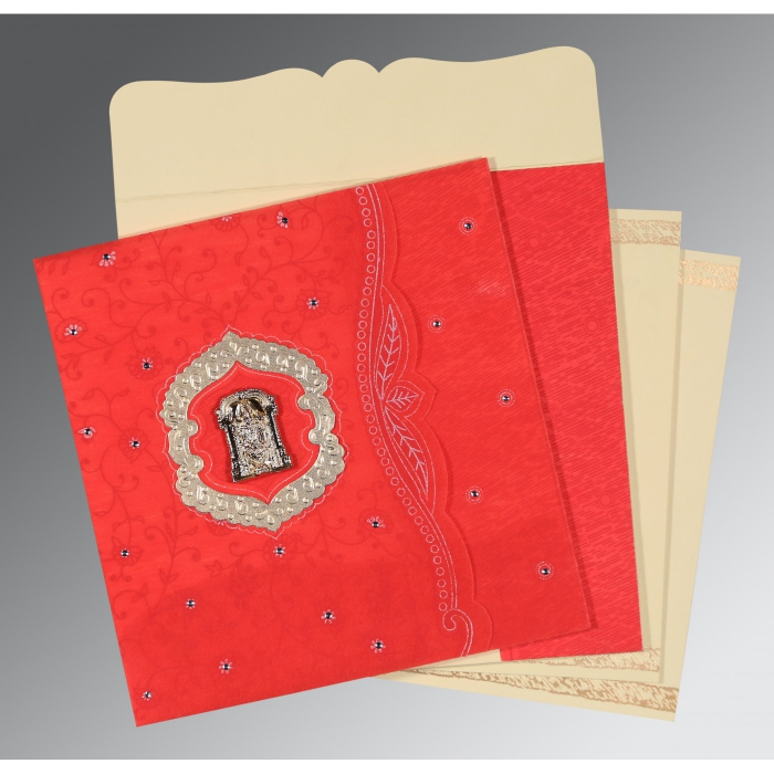 Red Wooly Floral Themed - Embossed Wedding Card : ASO-8209I - A2zWeddingCards
