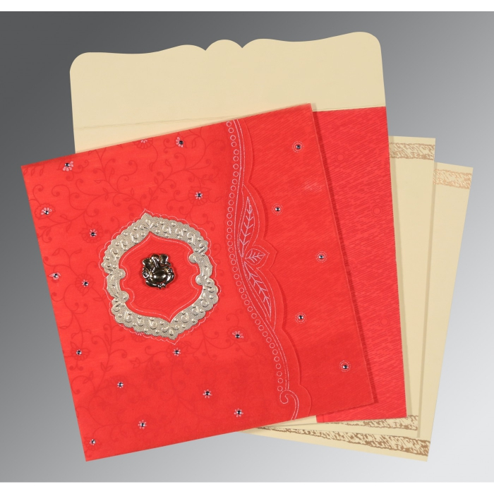 SCARLET SHIMMERY FLORAL THEMED - EMBOSSED WEDDING CARD : AW-8209I - A2zWeddingCards