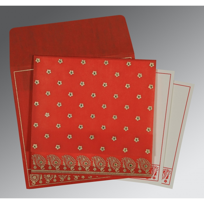 Red Wooly Floral Themed - Screen Printed Wedding Card : ASO-8218M - A2zWeddingCards