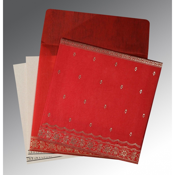 Red Wooly Foil Stamped Wedding Invitations : ARU-8242A - A2zWeddingCards