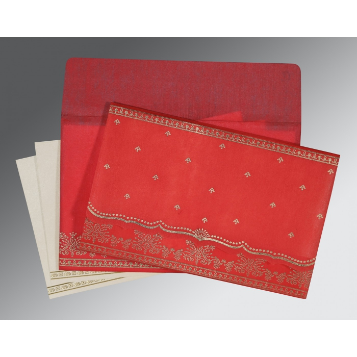 Red Wooly Foil Stamped Wedding Invitation : ASO-8241Q - A2zWeddingCards