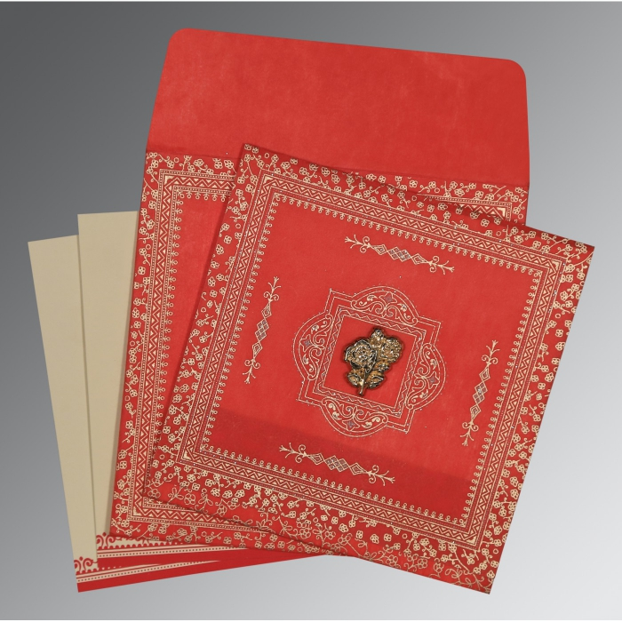 RED WOOLY GLITTER WEDDING CARD : AI-8205R - A2zWeddingCards