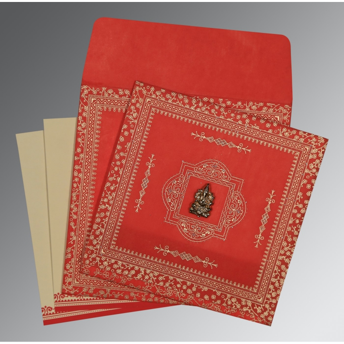 Red Wooly Glitter Wedding Card : AW-8205R - A2zWeddingCards