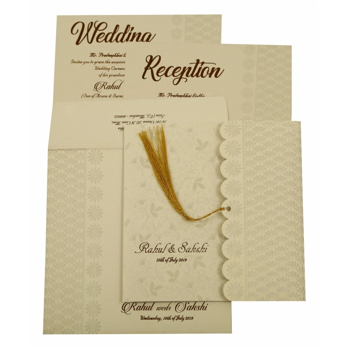 SHELL GREY SHIMMERY FLORAL THEMED - EMBOSSED WEDDING INVITATION : AW-1887 - A2zWeddingCards