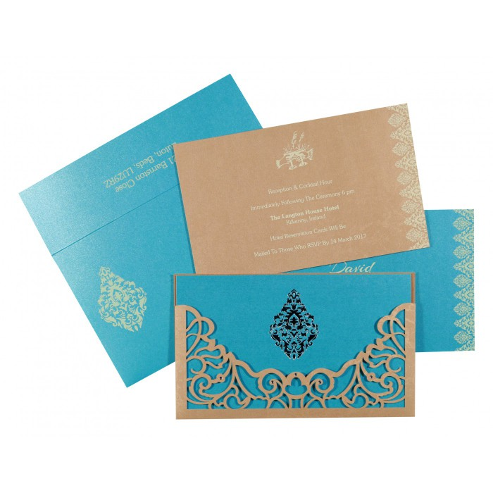 MODERATE ORANGE SHIMMERY DAMASK THEMED - LASER CUT WEDDING CARD : AIN-8262C - A2zWeddingCards