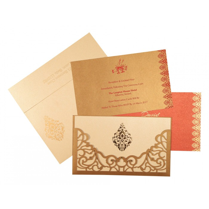 GOLD SHIMMERY DAMASK THEMED - LASER CUT WEDDING CARD : ARU-8262D - A2zWeddingCards