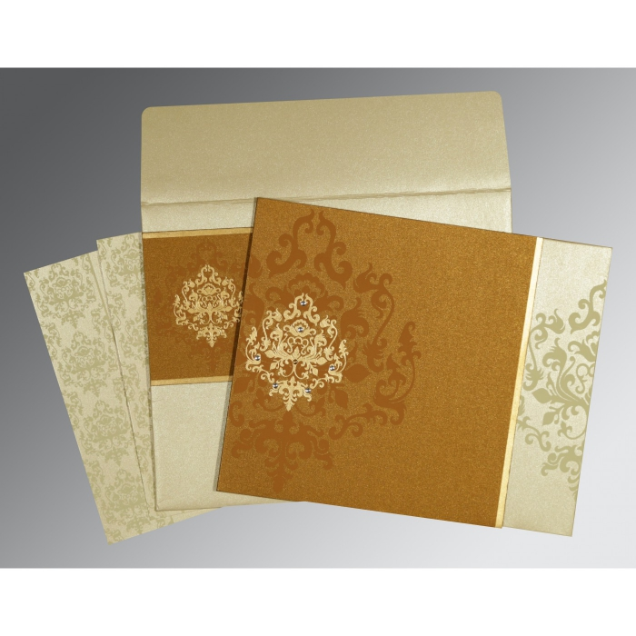 MUSTARD YELLOW SHIMMERY DAMASK THEMED - SCREEN PRINTED WEDDING CARD : AD-8253G - A2zWeddingCards