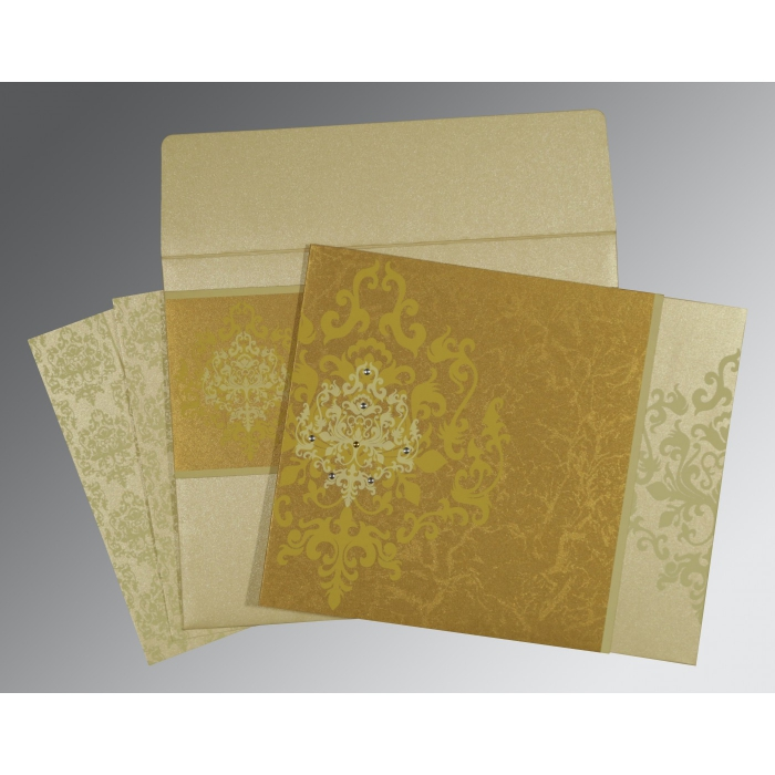 GOLD SHIMMERY DAMASK THEMED - SCREEN PRINTED WEDDING CARD : ARU-8253H - A2zWeddingCards