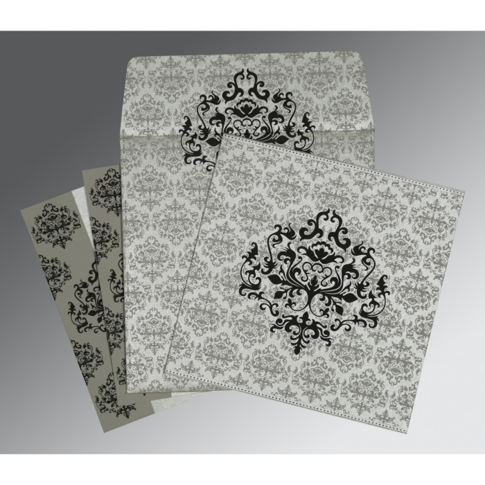 SILVER SHIMMERY DAMASK THEMED - SCREEN PRINTED WEDDING CARD : AS-8254H - A2zWeddingCards