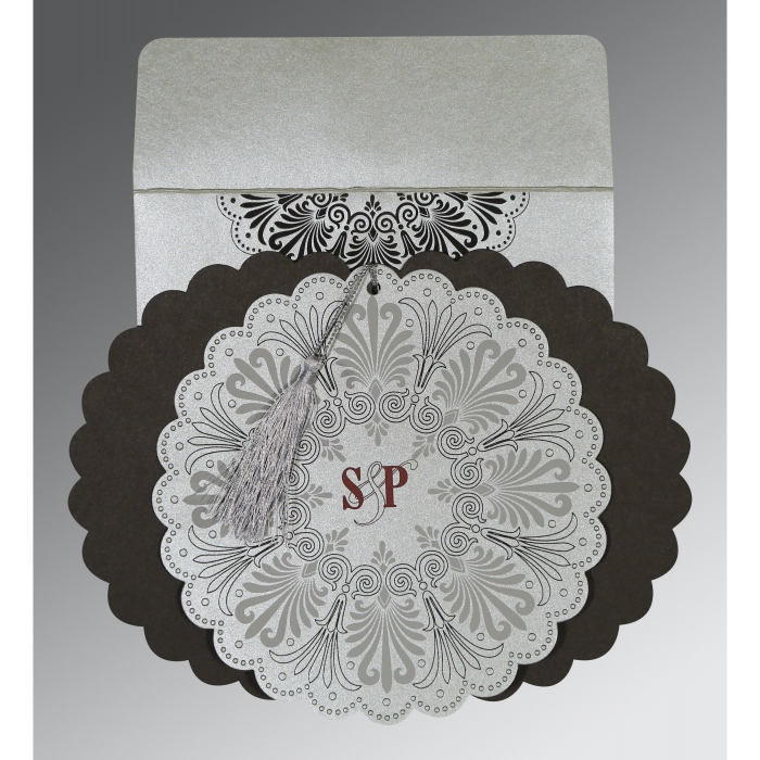 SILVER SHIMMERY FLORAL THEMED - EMBOSSED WEDDING CARD : AG-8238A - A2zWeddingCards