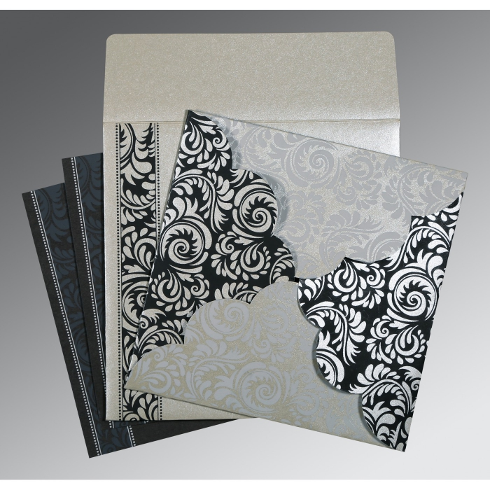SILVER SHIMMERY FLORAL THEMED - SCREEN PRINTED WEDDING CARD : ARU-8235B - A2zWeddingCards