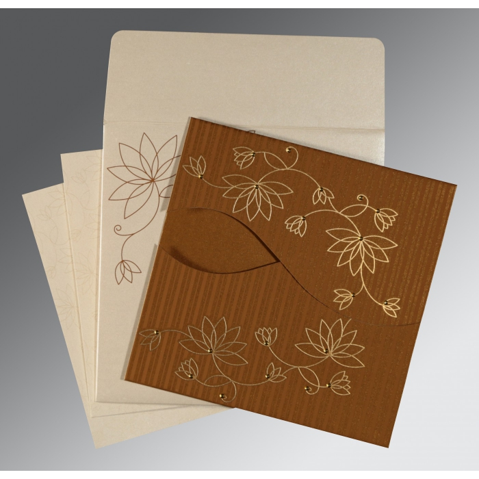 COPPER SHIMMERY FLORAL THEMED - SCREEN PRINTED WEDDING INVITATION : ASO-8251M - A2zWeddingCards