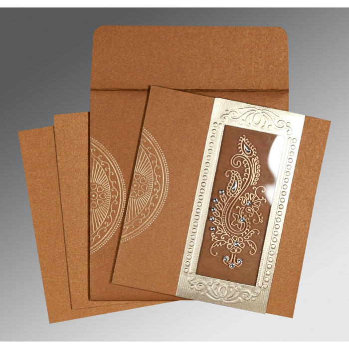 Shimmery Paisley Themed - Foil Stamped Wedding Invitation : AS-8230Q - A2zWeddingCards