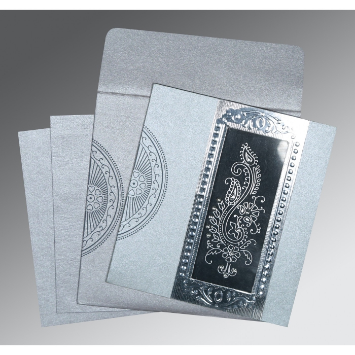 SILVER SHIMMERY FOIL STAMPED WEDDING INVITATION : ASO-8230F - A2zWeddingCards