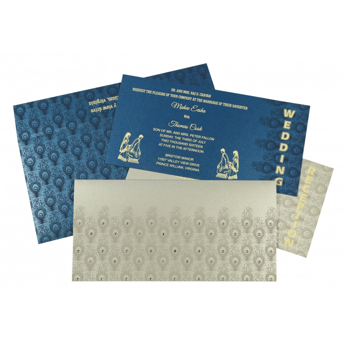 Shimmery Peacock Themed - Screen Printed Wedding Invitations : AG-8256H - A2zWeddingCards