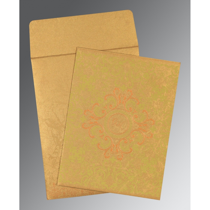 SATIN GOLD SHIMMERY SCREEN PRINTED WEDDING CARD : AC-8244G - A2zWeddingCards